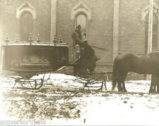 Vintage Funeral Horse Drawn Sleigh Hearse From Glass Plate Hearse Sleigh on Snow