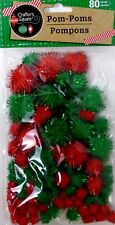 """New Christmas Colored Gllitter Pom Poms Red Green 1/4"""" to 1"""" 80/Pk ~ Qty 1"""