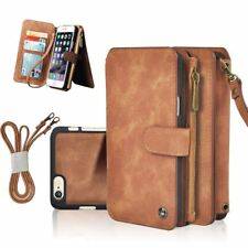 Genuine Leather ZIPPER Wallet Card Multifunction Cover Case for iPhone 6 7 Plus for iPhone 6s Camel