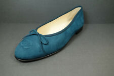 """CHANEL 37/7 sapphire blue suede ballerina flats cap round toe """"CC"""" NEW shoes"""