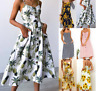 Women's Dress Summer Floral Bohemian Strap Button Down Swing Dress with Pockets