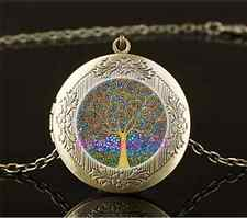 Vintage Tree of life Photo Cabochon Glass Brass Locket Pendant Necklace