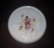 Antique Porcelain 1800s ART NOUVEAU Tile Trivet - Portrait Of VICTORIAN BEAUTY