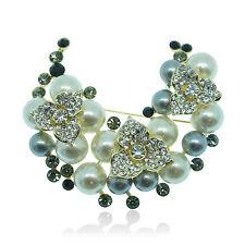 14k Gold GF Pearls Swarovski Crystals Flowers Brilliant Brooch Pin