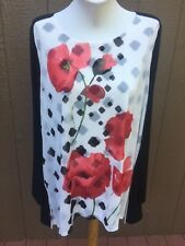 New Chico's Travelers Black White Red Poppy Floral Blocked Top 3 = XL 16 18 NWT