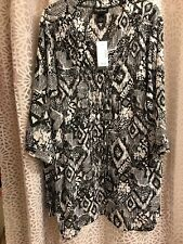 Maggie Barnes Womens 3X (26-28) Semi Sheer Blouse with Front Beaded Accents NWT