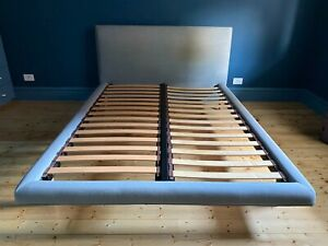 Jardan Nook Bed Upholstered Double with Timber Slats & Feet - Blue Grey colour