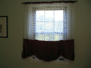 Curtain Kitchen One Panel Rod Pocket White Lace and Burgundy Ruffle 54 x 57 inch