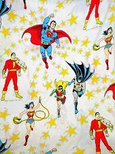 Vintage Superman Batman Twin Bed Flat Sheet Wonderwoman Robin DC Comics 1977
