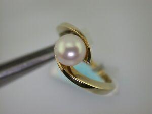 Gelbgoldring mit Perle  Gr.53 ungetragen aus Juwelierauflösung