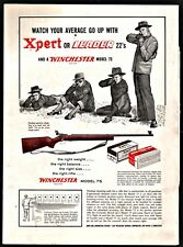 1953 WINCHESTER 75 Bolt Action 22 Rifle PRINT AD shown w/Xpert,Leader Ammunition