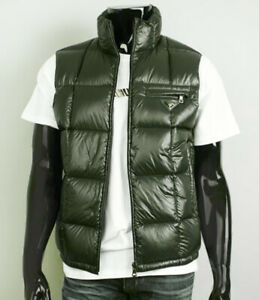 PRADA⚡️Quilted puffer down insulated logo gilet green vest size 50 Large SGH253
