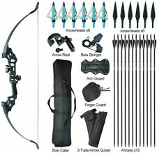 "50lb Archery 51"" Takedown Recurve Bow Set 12x Arrows Broadheads Adult Right Hand"