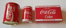 3x Coca Cola Coke Blechdosen Spardose sammeln Vintage Retro Werbung Marke Dosen