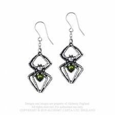 ALCHEMY ENGLAND Gothic Spiders Swarovski Crystal DROPPER EARRINGS Emerald Venom
