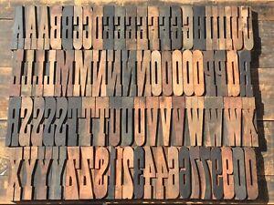 "Large 6 3/4"" Antique VTG Clarendon Wood Letterpress Print Type Block Letter Set"