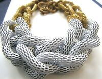 "Vintage Enamel Mesh Necklace Huge 24"" Chunky Knots 2"" Mod Loop Links White Gold"