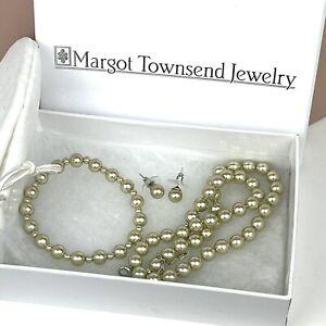 Margot Townsend Glass Pearl Necklace Bracelet & Earrings Set Green Wedding New