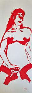Unikat Mooseart Akt erotische Zeichnung Tusche auf Papier ca. 28x76cm Original