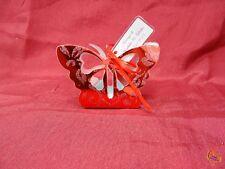 Boite à dragée en forme de papillon rouge argenté x25