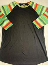 Crazy Train Ls Baseball Style Black & Bright Colors Shirt Women'S Medium