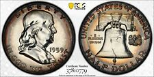 1959-P USA SILVER FRANKLIN HALF DOLLAR PCGS PR64 GEM BU UNC PROOF COLOR TONED #7