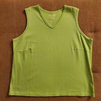 Women's EDDIE BAUER Sleeveless Shirt Lime Green 100% Cotton V-Neck Size 2X
