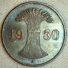 1930 A Germany-Weimar Republic Reichspfennig KM#37 Bronze World Coin YG #P