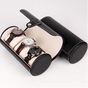 PU Leather Watch Roll 3 Watch Travel Case Storage Display Case Pouch Black/Brown