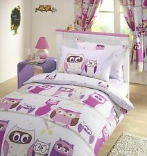 """Owls Pink Girls Childrens Kids Lined Curtains 66"""" x 72"""" Drop"""