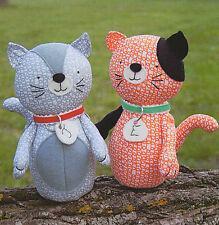 Jude & Eloise - Sewing Craft PATTERN - Soft Toy Felt Doll Bear Cat