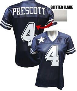 Custom Womens Blinged Football Navy/White Glitter Flake Jersey, Dak Prescott
