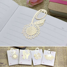 2Pcs Book Magazine Label Mark Kid Reading Gift Bookmark Metal Clip Gold Creative