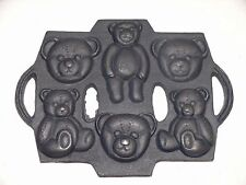 Cast Iron Cookie Mold Pan 6 molded Bears Ice Cream Candies Cake EXCELLENT NEW/OS