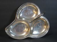 "SHERIDAN SILVERPLATE DIVIDED 3 SECTION 12"" CANDY DISH/TRAY LEAF SCROLL w HANDLE!"