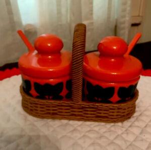 Retro Condiment Set Emla West Germany Orange In Basket