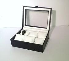 Cassetta in legno rivestito con vetro per 6 orologi - Produzione Italiana