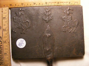 >> Circa 1800's Hessian Soldiers Waffle Iron about 4 1/4 x 6 x 24  cast iron