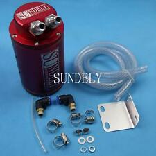 Billet Aluminum Car Racing Engine Oil Catch Tank Can Reservoir Red Round + Hose