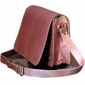 Handmade Genuine Vintage Brown Leather Messenger Shoulder Laptop Bag Briefcase