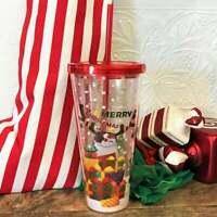 Clear Merry Christmas Glitter Holiday 2020 Acrylic Tumbler Starbucks Mug 19 oz