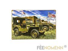 Plaque Métal Déco Vintage - US Army Jeep WW2 (20x30cm)