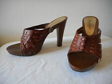 OH~! $475 NIB DOLCE & GABBANA Logo Lace Brown Leather Mules Shoes ITALY IT37 7M
