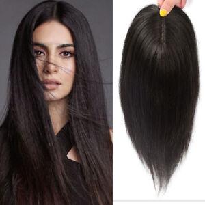 Silk Base Topper Hair Piece Human Hair for Women Clips Crown Toupee Wig Topper