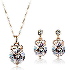 18K ROSE GOLD PLATED & GENUINE CLEAR CUBIC ZIRCONIA  HEART JEWELLERY SET