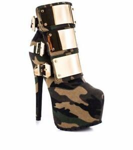 Womens Stiletto Platform Shoes Sexy Camo Round Toe Rivet Buckle Ankle Boots High