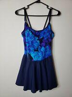 Rose Marie Reid Women's Bathing Swim Suit Attached Skirt 14 Blue Purple Floral