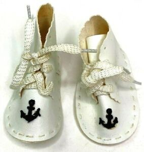 Nautical Newborn Baby Boys Girl Infant Moccasin Shoes White Blue Anchor Lace Up