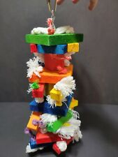 """New listing Pet bird toy, hanging, rope, wood, 14"""" parrot, cockatiel, chew, swing, cage"""