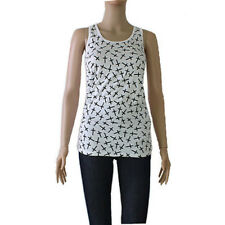 Cross Tank Top Blouse Tee White Shirt Black Crosses One Size Light Weight New